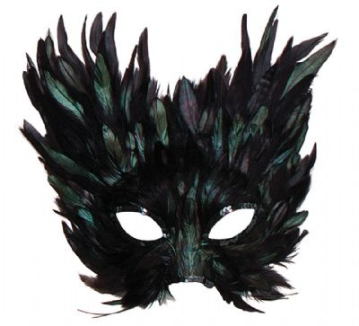 "Melisande: ""Her mask was black, night-black feathers with a dark rainbow sheen upon them, sweeping up in points to mingle with her elaborately styled hair"""