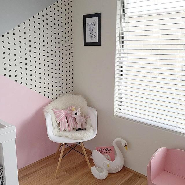 what a stunning feature wall inspiredbypearl has created in her babys nursery confetti dots - Wall Painted Designs
