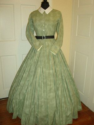 Civil War Reenactment Day Dress Size 12 Green | eBay