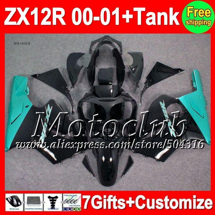 Голубой черный 7 подарки + майка для KAWASAKI ZX12R ниндзя ZX-12R 00 01 C2131 ZX 12R 00 - 01 ZX 12 R 2000 12R 2001 зализа голубой черный