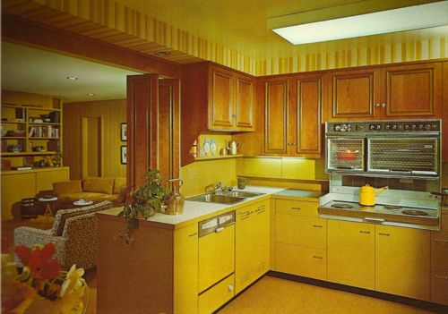 seventies decor - yellow!!! The three color in the 70s were Harvest Gold (this yellow), Avocado Green, and Burnt Orange. My Mom's kitchen was Harvest Gold because she hated the green and orange.