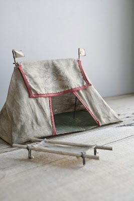 Charming antique toy army tent & cots.