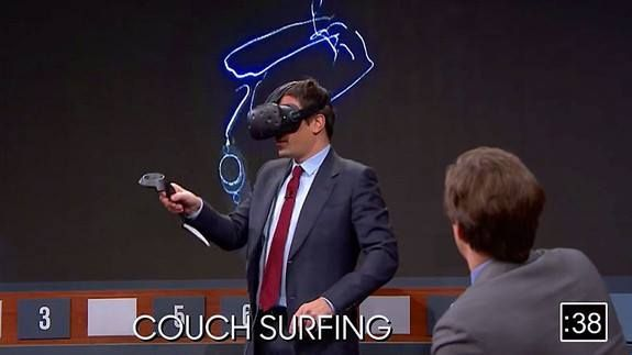 """Jimmy Fallon plays virtual reality Pictionary using the HTC Vive Read more Technology News Here --> http://digitaltechnologynews.com  Conan O'Brien figured out how to make VR work on late night TV and now Jimmy Fallon is taking a shot at it too.  SEE ALSO: 2016 was supposed to be the year of VR. Instead augmented reality ruled  Fallon set up a massive video display connected to the HTC Vive VR headset to play what he calls """"Virtual Reality Pictionary"""" with guests Michael Che (Saturday Night…"""