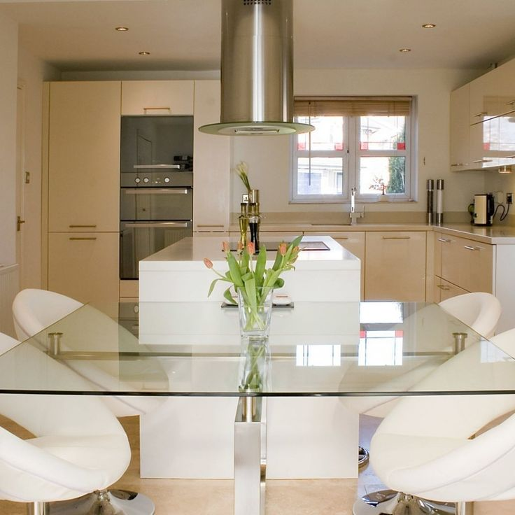Modern Kitchen and White Dining Area Wallpaper