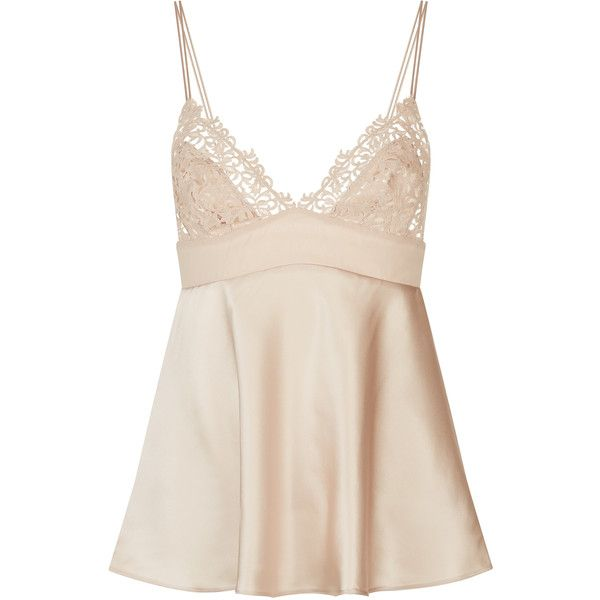 La Perla Petit Macrame Vest Top found on Polyvore featuring tops, shirts, beige, pink top, beige top, crochet tank top, beige tank top and crochet top