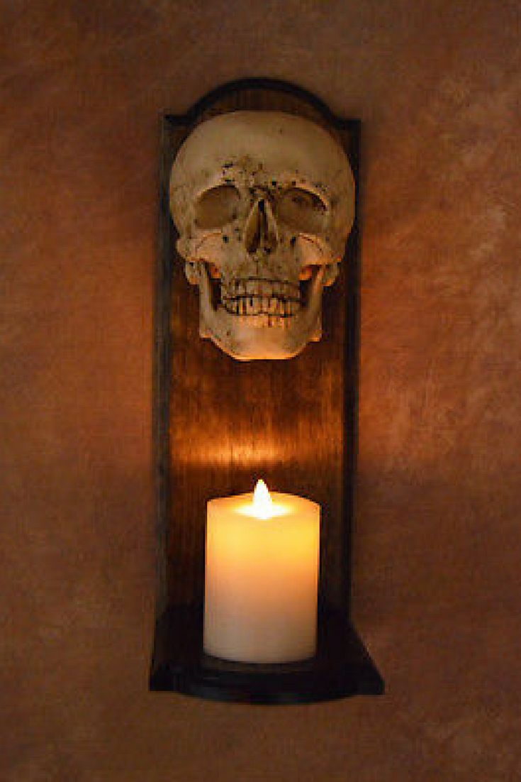 Skull Wall Sconce with Flameless Candle (affiliate)