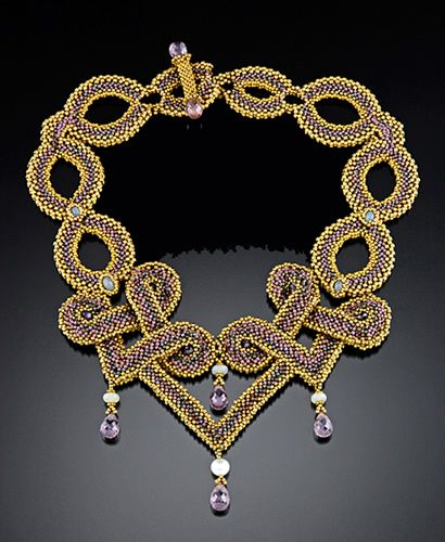 Maggie Meister - Clodia Necklace;  Made from glass cylinder beads, twenty-four karat goldplate, opals, and amethyst; right angle weave, peyote stitch,