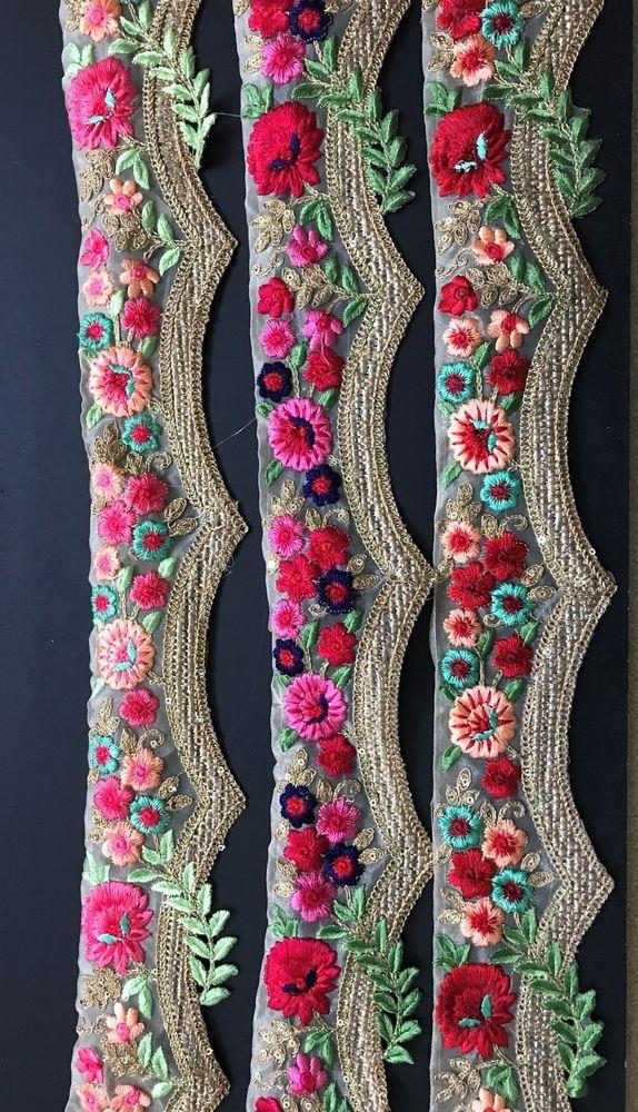 1 Yard Latest Indian Cutwork Zari Thread Colour thread work Lace Trim Border