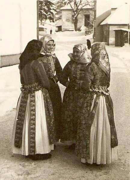 Lipt.Sliače Girls talking on their way from the church. In this picture there are both my grandmother and my husbands grandmother ❤ what a picture!