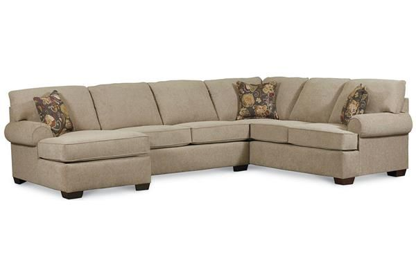 Vivian Transitional Tan Fabric Sectional w/LAF Arm Chaise