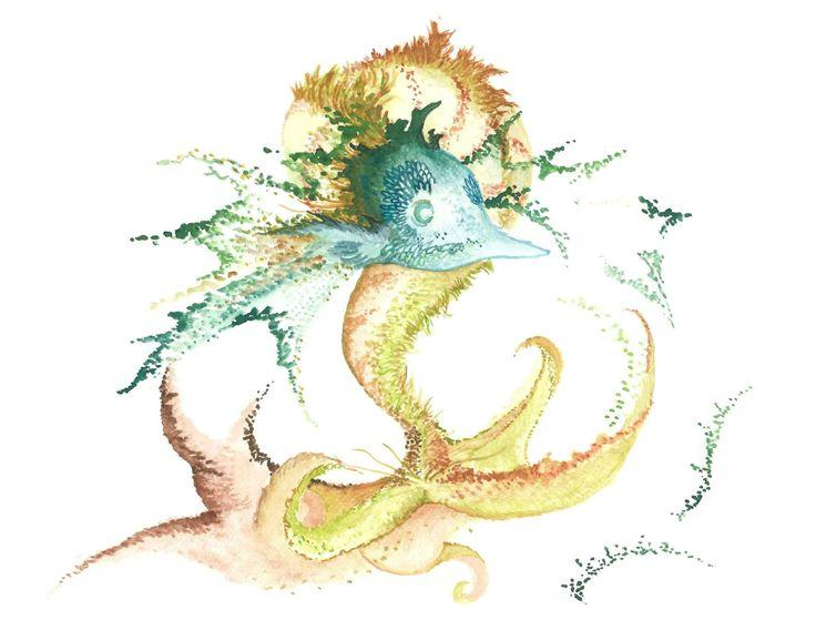 Fishing for Inspiration Watercolour by Ashya Lane-Spollen
