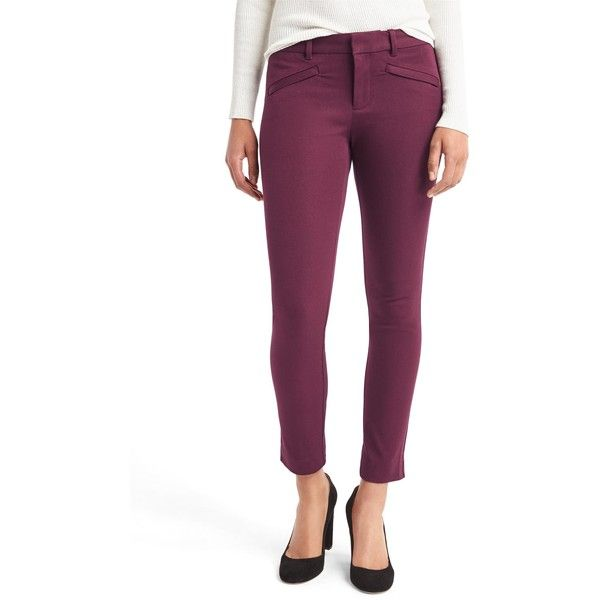 Gap Women Bi Stretch Skinny Ankle Pants (430 MXN) ❤ liked on Polyvore featuring pants, capris, regular, tuscan red, purple skinny pants, purple pants, red pants, skinny leg pants and skinny trousers