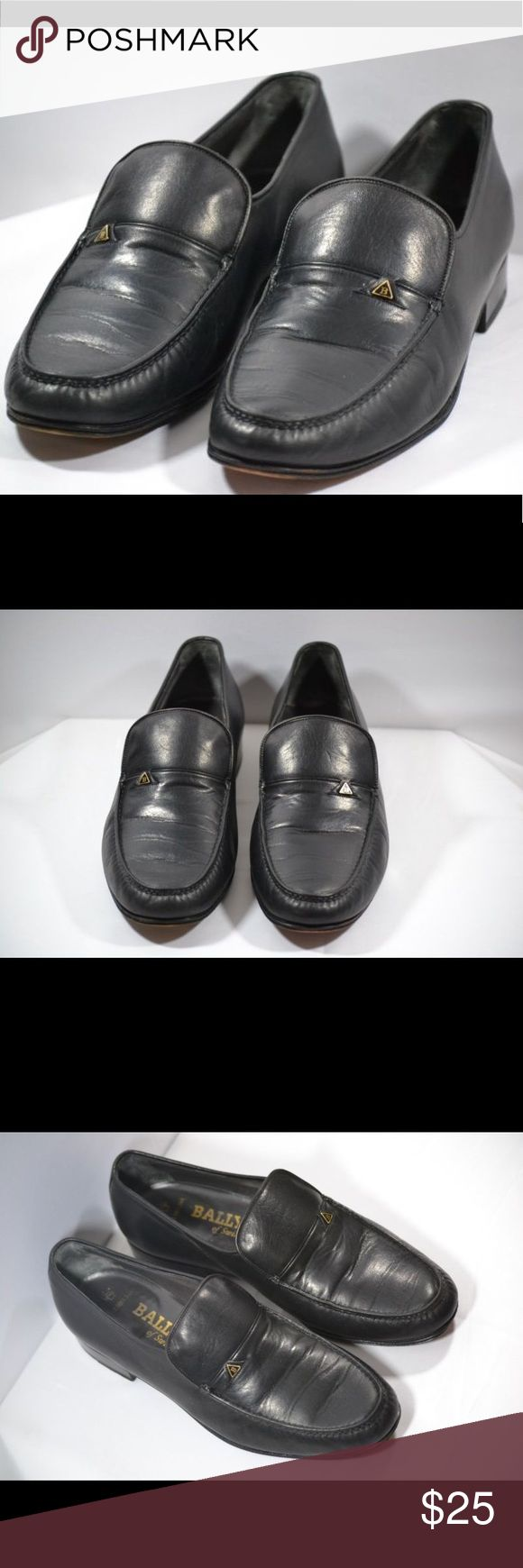 Bally of Switzerland Leather Loafers Size 9 Pair of Bally of Switzerland  Black Leather Signature Loafers Men's Shoes with a signature Bally metal tag. They are a US size 9 and show light overall wear with creases in leather and wear on the bottom. Thank you for looking. Bally Shoes Loafers & Slip-Ons
