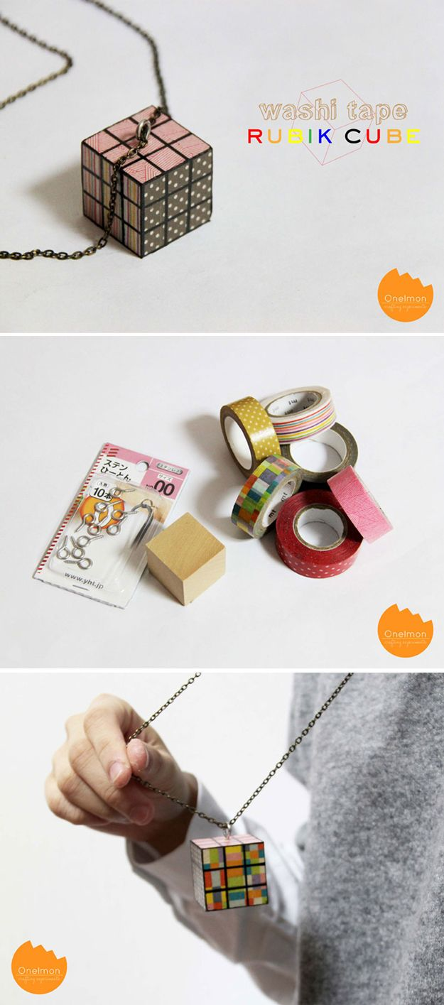 DIY Washi Tape Jewelry Design | Washi Tape Rubik Cube by DIY Ready at http://diyready.com/100-creative-ways-to-use-washi-tape/