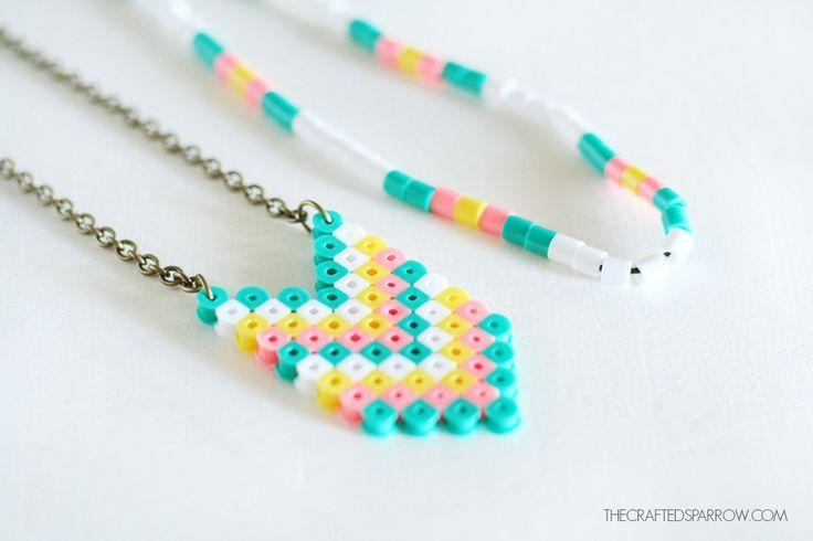 Chevron perler beads necklace