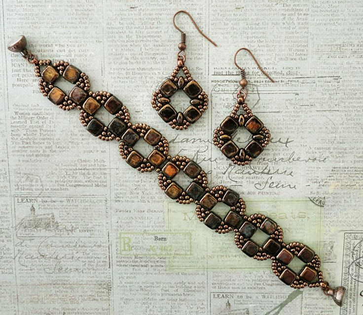 Linda's Crafty Inspirations: Coin Earrings Variation - Jet Bronze Picasso