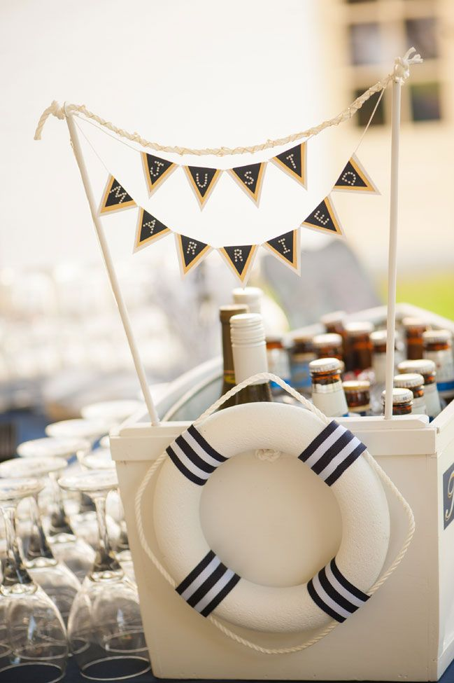 Just Married Beer Boat, Perfection For Nautical Themed Weddings! Coral & Navy Vintage Inspired Nautical Wedding At The Ribault Club Jacksonville Florida | Photograph by Britney Kay Photography   http://storyboardwedding.com/vintage-nautical-wedding-ribault-club-jacksonville-florida