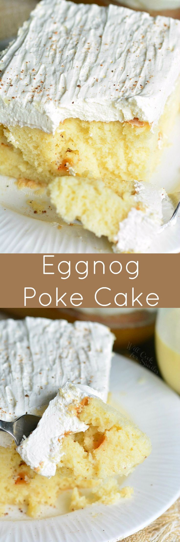 Eggnog Poke Cake! This cake is spiced with nutmeg, soaked in a sweet eggnog sauce and then, topped with creamy eggnog topping. PERFECT easy cake for the season. #pokecake #eggnog