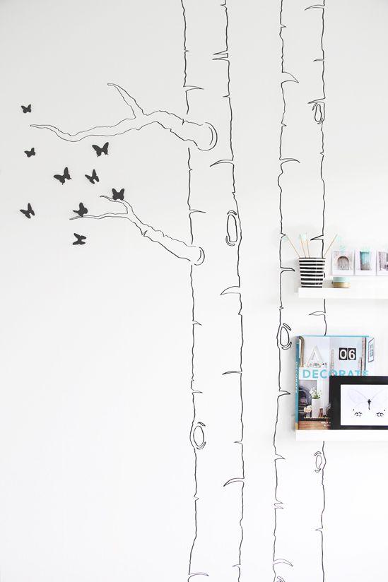 DIY: Dibujar la silueta de un árbol en la pared y añadirle mariposas 3D : x4duros.com