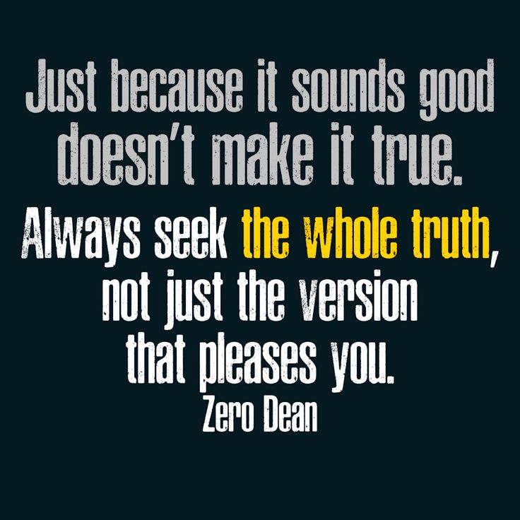 Just because it sounds good doesn't make it true. #ZeroDean