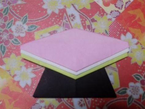 折り紙の雛祭り お雛様の菱餅 簡単な折り方作り方 - YouTube