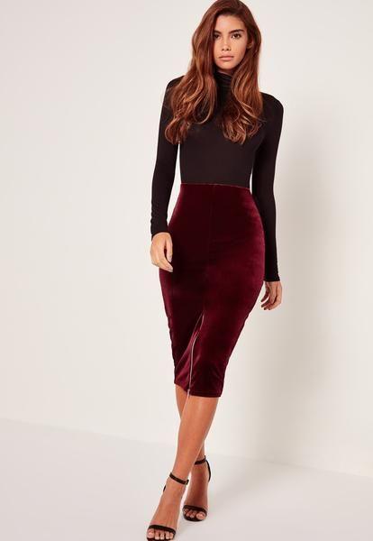 Modest Red Velvet Skirt