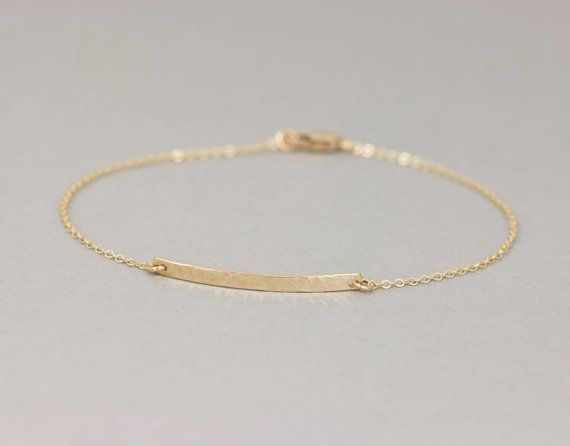 Delicate Narrow Hammered Bar Bracelet / Personalized Gold Bracelet / Small Skinny Bar Bracelet by Layered and Long / LB128_26_B_hm