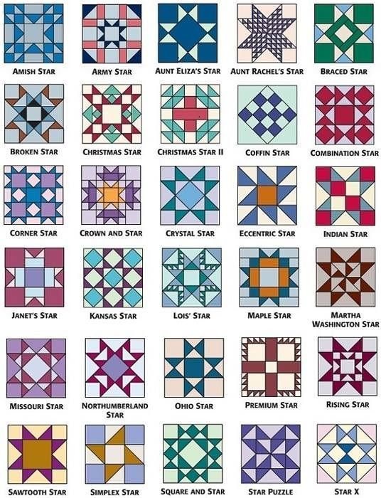Star Pattern Quilt Blocks                                                                                                                                                      Más                        tela                                                                                                                             Más