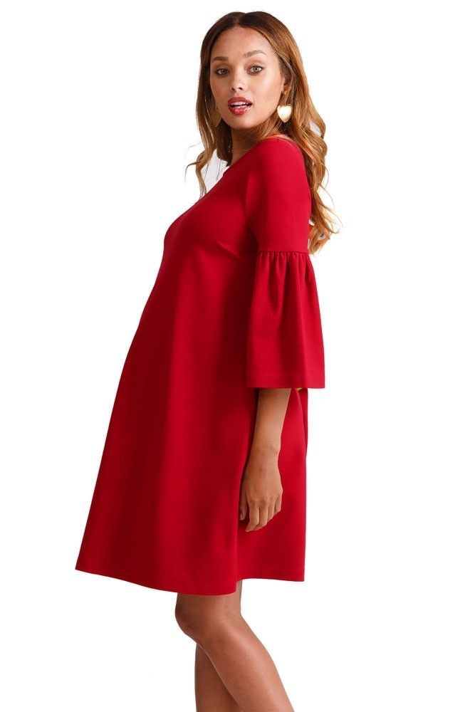 a494a86d8dd93 Ingrid & Isabel Ponte Bell Sleeve Maternity Dress (Bright Crimson) -  Stunning Holiday Maternity Dress that features ponte fabric and cute bell  sleeves!