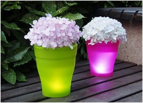 garden pot ideas | FLOWER POTS WITH LED LIGHTING : GARDEN AND TERRACE DESIGN IDEAS