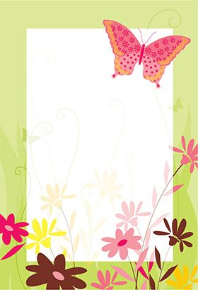 """Flores y mariposa"" printable invitation. Customize, add text and photos. print for free!"
