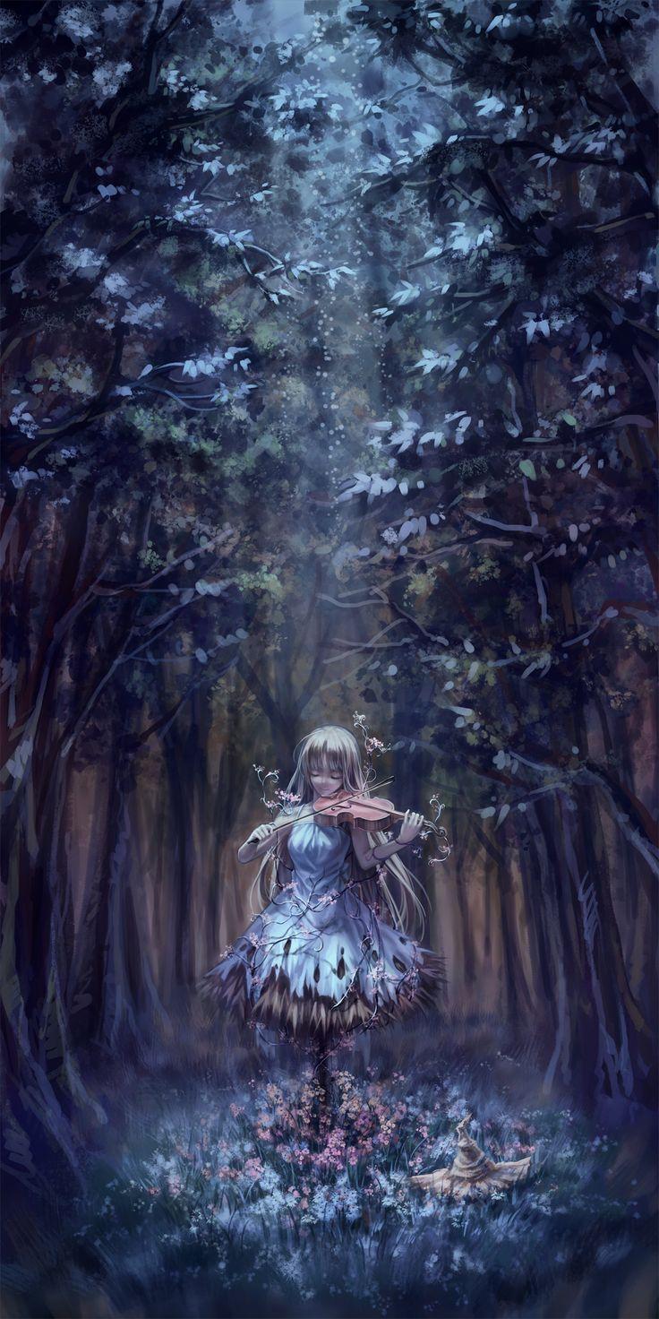 """Mientras dejaba atrás el mundo que la lastimaba y se perdía tanto en el bosque como en ma melodía del violín una nueva dimensión se abría ante ella.. Secretos y leyendas dejando de ser simples """"fantasías infantiles"""" al cobrar vida a su alrededor al igual que los árboles y todo lo vivo ante ella. Se empezó a fundir con la naturaleza por cada nota de esperanza y aventura que emitía de su instrumento.. ya no tendría que preocuparse por el mundo y la ciudad nunca más...~Nakua"""