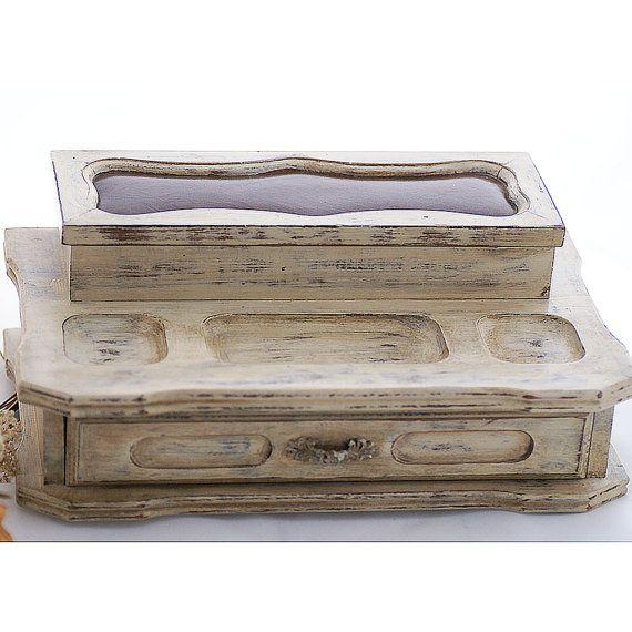 Boîte à bijoux Shabby Chic pour hommes, coffre à bijoux vintage en bois peint à la main, peinture à la craie beige,