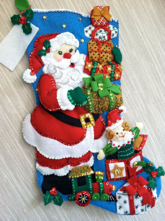 Gifts from Santa Completed Handmade Felt Christmas Stocking from Bucilla Kit