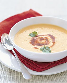 Chilled Corn Soup with Adobo Swirl Recipe  at Epicurious.com
