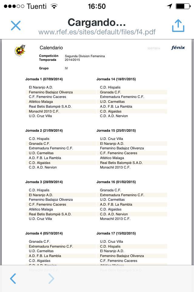 Disponible el calendario de la segunda división femenina grupo IV.   http://www.rfef.es/sites/default/files/f4.pdf  La primera jornada se juega el 7 de septiembre. Ese día tenemos derby:  Cáceres Femenino vs Extremadura FCF  #futbol #futfem #derby #calendario #femenina #Extremadura #Almendralejo