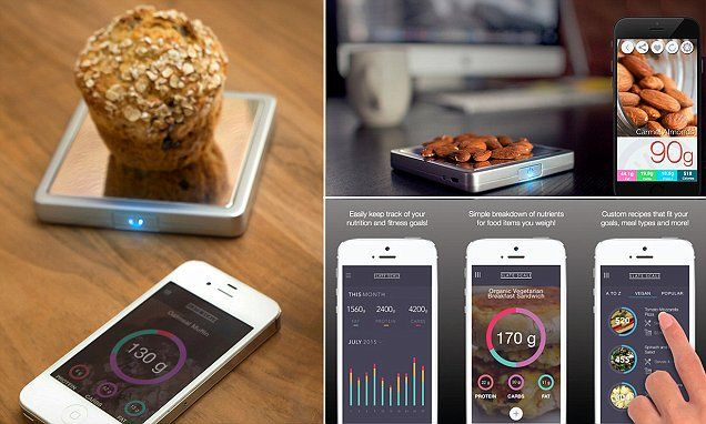 Connected scales weighs food to show its nutrients on your phone #DailyMail