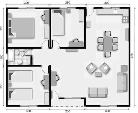 10 plano de casa 3 dormitorios construccion pinterest for Plano construccion casa