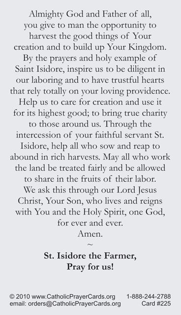 St. Isidore the Farmer Prayer Card