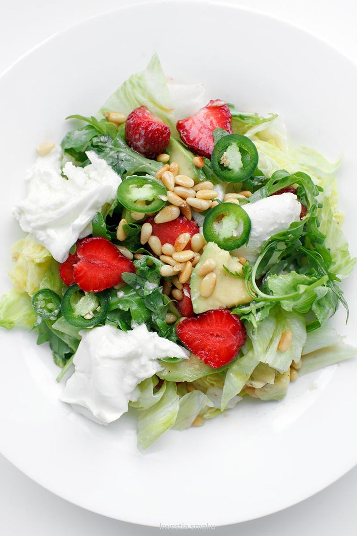 salad with strawberries, avocado, mozzarella, mustard vinaigrette and green chili jalapeño