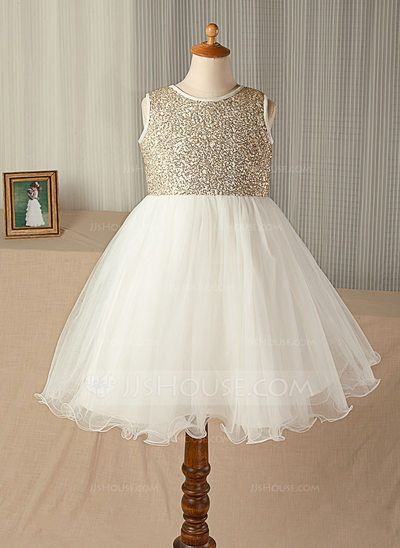 [US$ 48.99] A-Line/Princess Knee-length Flower Girl Dress - Tulle/Sequined Sleeveless Scoop Neck