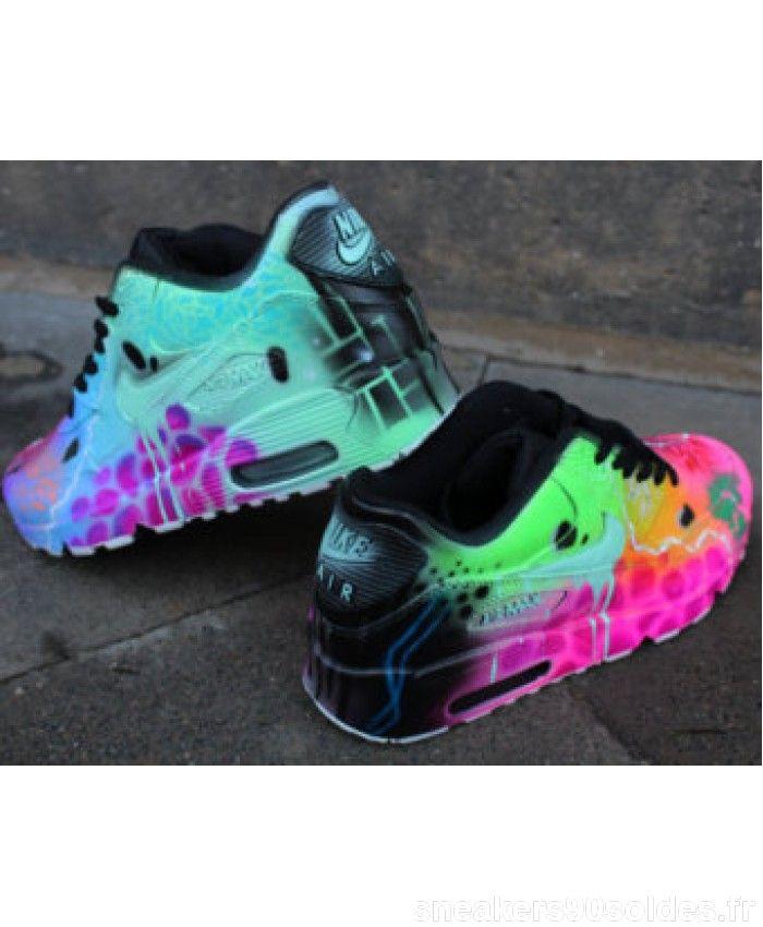 Chaussures Nike Air Max 90 Candy Drip Rose Noir Personnalisé Prix