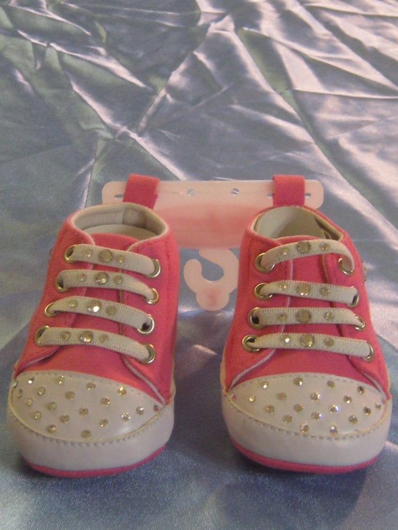 Swarovski Crystal Faux Baby Tennis Shoes with Laces by BlingBlops, $16.99