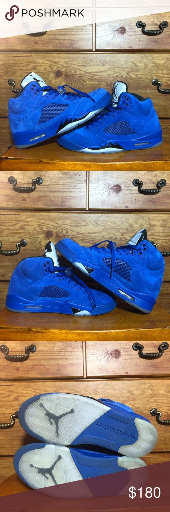 "JORDAN 5 V RETRO SZ 10.5 GAME ROYAL BLUE SUEDE AIR JORDAN 5 V RETRO  "" FLIGHT SUIT "" • STYLE CODE: 136027 401 • COLOR: GAME ROYAL BLUE SUEDE BLACK SILVER • SIZE: MEN 10.5 USED With Box CONDITION: 10/10 *great condition only worn a few times*   Ships same day as purchase Jordan Shoes Sneakers"