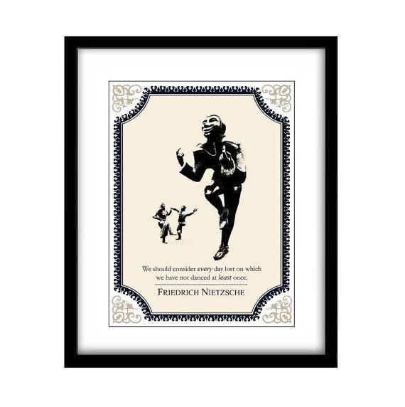 Literary art prints, Friedrich Nietzsche, typography art print, Extra Large Wall Art Prints Black and White Art, Quote art print, Dancing