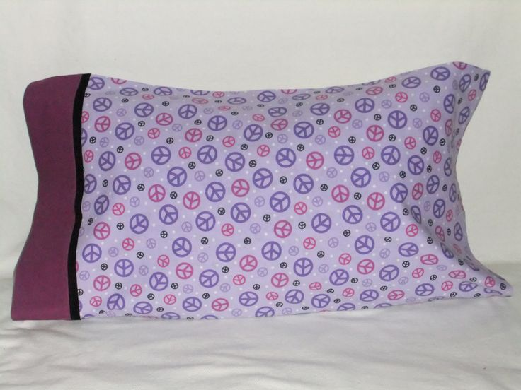 """PEACE #1 PILLOWCASE w dark cuff - 20"""" x 34"""" by KatiesCOVERS on Etsy"""