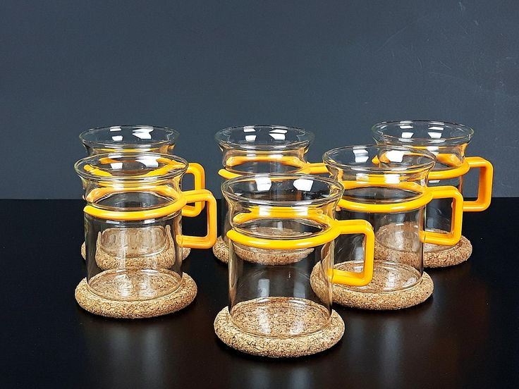 Bodum Glass Coffee Mugs, Cork Coasters - 6 Vintage Bodum Coffee Cups - Six Bodum Tea Glass, Espressoglas, Glogg - Yellow Handle Bodum Bistro by EightMileVintage on Etsy