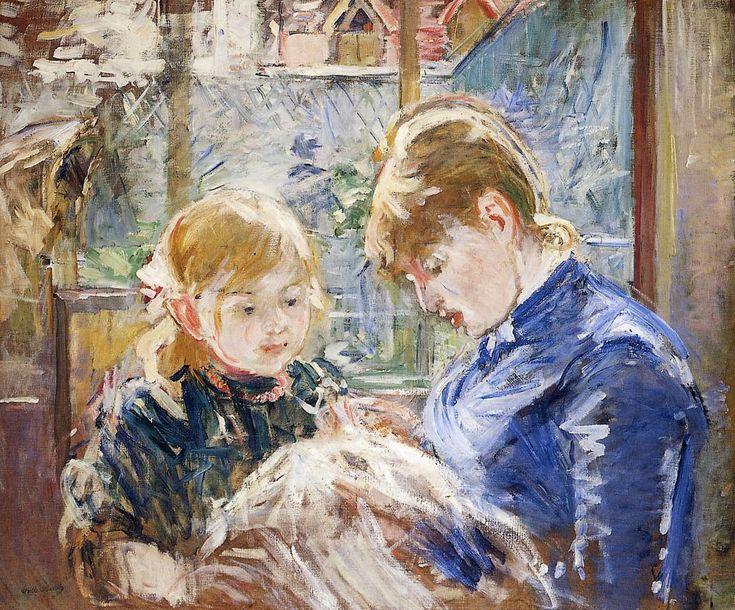 Berthe Morisot - La leçon de couture (la fille de l'artiste, Julie, et sa nounou)