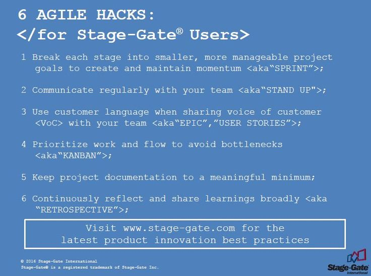 6 Agile Hacks for Stage-Gate® Users