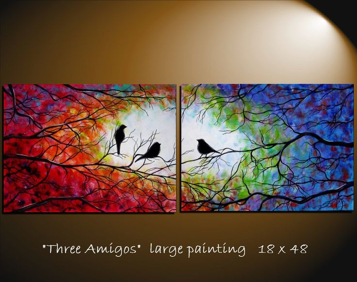 Large Abstract Bird Tree Painting Contemporary Modern